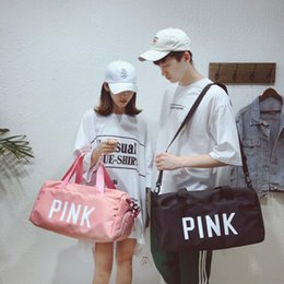 Wholesale racing business - Pink Letter Duffel Shoulder Bag 2 Colors Love Pink Travel Business Handbags Multi Function Shoe Position Beach Outdoor Bag OOA5433