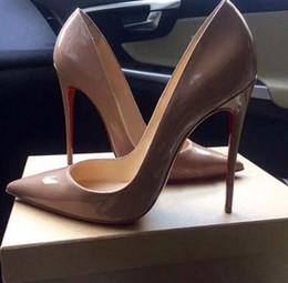 резиновая балерина Скидка 2018 Красный насосы лакированная кожа Pigalle каблуки женщины свадебные туфли острым носом тонкие каблуки сексуальная женщина на высоких каблуках 35-44