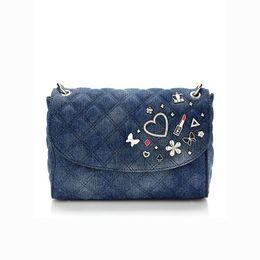 Wholesale Denim Crossbody Bag - fashion women shoulder bag Denim brand Handbag small crossbody bags NWT love diamond design BAG204