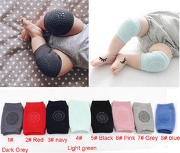 Wholesale Kids Catsuit - INS Baby Knee Pads Kids Kneecaps 9*12cm Baby Elastic Knee Caps Crawling Gear Kneeboss 8 Solid Color Cotton Thick Knee Protecter