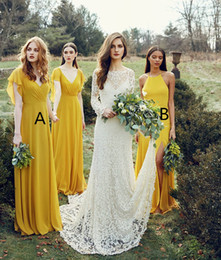 Wholesale Ordering Bridesmaid Dresses - 2018 Mix Order Chiffon Long Bridesmaid Dresses Ruched Split Backless Wedding Guest Party Dresses Summer Garden Bohomia Maid of Honor Dresses