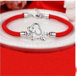 Wholesale Fish Strings - new Zodiac dog S925 silver transfer red string bracelet bracelet female dog mascot lucky year of fate