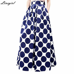 Wholesale Maxi Skirt Dotted - Fashion Vintage High Waist Polka Dots Printed Maxi Skirt Fall Casual Elegant Women Long Skirt Black Blue Red Pleated