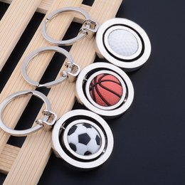 Wholesale Rotating Keychain - Russian World Cup Sport Football Keychain Creative Rotating Soccer Basketball Golf Key Chain Pendant Gifts Party Favor