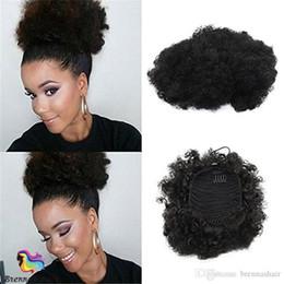 En Kaliteli Kinky Kıvırcık Puf İpli Saç Chignon afro Bun at kuyruğu Yeni Stil Kıvırcık Combsfor Siyah kadın nereden brogue oxford elbise ayakkabıları tedarikçiler