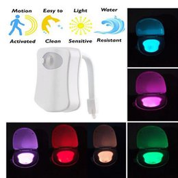 Wholesale Toilet Night Light Motion Sensor - 8 Colors Body Sensing Automatic LED Motion Sensor Night Lamp Toilet Bowl Color Changing Bathroom Light