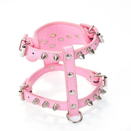 Wholesale Dog Cat Bell Collars - Dog Harness Collar Fashion Rivet Pet Vest Multi Color PU Puppy Cat Chest Straps 16 5wn C R