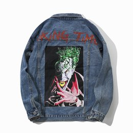 Estilos do jaque on-line-The clown print is an original design for the menswear jack denim hip-hop Popular street style for 2018 Loose big size S-XL