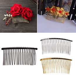 tooth hair clip Coupons - DIY Blank Metal Hair Clips Wedding Veil Side Comb 20 Teeth Bridal Hair Accessories
