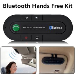 Wholesale free music clip - Wireless Bluetooth V4.0 Hands Free Speaker Music Player Car Kit Free speakers In Car Kit Visor Clip Bluetooth Car Kit for Smartphone