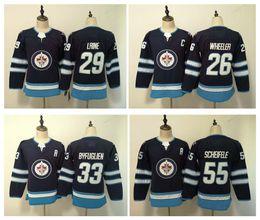 Mujeres Winnipeg Jets Jersey Barato 29 Patrik Laine 55 Mark Scheifele 33 Dustin Byfuglien 26 Blake Wheeler Damas cosidas jerseys de hockey sobre hielo desde fabricantes