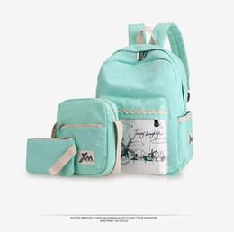 Wholesale Cute Laptop Backpacks - Casual canvas backpack crossbody bag laptop bag shoulder bag school backpack preppy cute bookbags 3pcs  lot