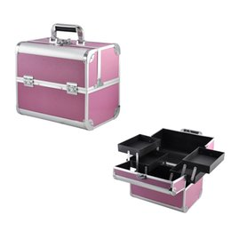 Wholesale Vanity Boxes - Large Space Beauty Make up Nail Tech Cosmetic Box Vanity Case