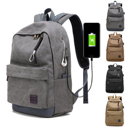 Wholesale Books Computers - Vintage Men USB Charge Backpack Unisex Design Book Bags for School Casual Rucksack Daypack Oxford Canvas Computer Laptop Man Travel Backbag