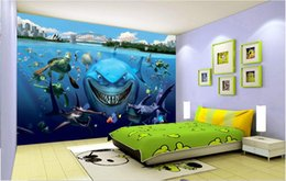 mural fish 2018 - 3d wallpaper custom photo Sea world aquarium shark fish background wall Home decoration 3d wall murals wallpaper for walls 3 d living room