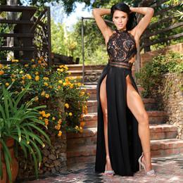 chiffon hochzeitskleid tropfen ärmel Rabatt Durchschauen Spitze Frauen lange Maxi Kleid aus Schulter rückenfrei hohe Split Sexy Kleid Sommer 2018 schwarz rot Party Kleider