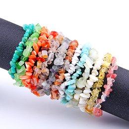 Wholesale Pink Gravel - 7Colors High Quality Natural Stone Irregular Gravel Bracelets Handmade Beaded Bracelet for Women men Bracelet Gift