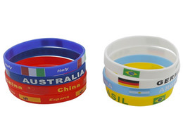 Wholesale Promotional Flags - Russia World cup football soccer team wristband silicone wristlet bracelet with national flag promotional gifts souvenirs