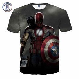 Spinnenmann polyesterhemd online-Comic Marvel Avengers T-Shirt Männer Superheld Captain America Spider Man Iron Man T-Shirt Sommer Neuheit Deadpool T ShirtsY1882201