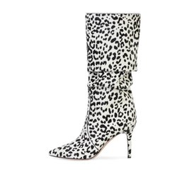 zebra dress shoes Promo Codes - Women's Leopard Zebra Pleated Stiletto High Heels Pointed Toe Slip-on Knee High Winter Boots Plus Size Ladies Casual Dress Shoes