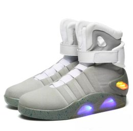 Wholesale nylon cloth fabric - high quality Air Mag Sneakers Marty McFly's LED Shoes Back To The Future Glow In The Dark Gray Black Mag Marty McFlys Sneakers With Box Top