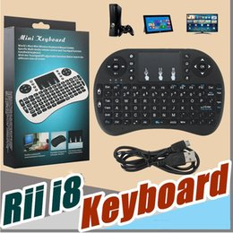 Wholesale Smart Tv Keyboards - Mini Rii i8 Wireless Keyboard 2.4G English Air Mouse Keyboard Remote Control Touchpad For Smart Android TV Box HTPC MXQ Pro M8S X96 Game PC