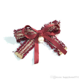 Wholesale Wholesale Small Spring Clips - Party Accessories Fabric bows pearl hair top clip horizontal clip simple temperament small incense wind spring clip hair accessories
