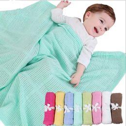 Wholesale toddler baby sleeping bags - 70*90cm baby Blanket Knitted Crochet Sleeping Bags Toddler Newborn Photo Swaddling Nursery Bedding Stroller Cart Swaddle Robe KKA4303