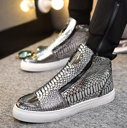 Wholesale Silver Hip Hop Shoes - 2018 New high quality men's shoes Spring autumn New Hip-hop trend High help Round head zipper Flat with fashion Men's shoes