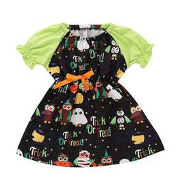 Vestido de coruja on-line-Meninas do dia das bruxas Fantasma coruja vestido de Impressão crianças Lanterna Manga princesa vestidos de moda Boutique crianças Roupas C5262
