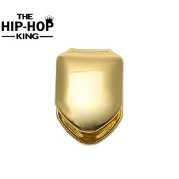 grill cap Promo Codes - Gold Color Single Teeth Grillz Plain Canine Tooth Grill Cap Top &Bottom Grill For Halloween Christmas Party