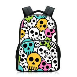 Wholesale Tactical Laptop - Hot Tactical Backpack For Men Outdoor Sport Rucksack Cool Personalized Skull Pattern Laptop Notebook Backpacks College Canvas School Bookbag