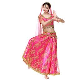 Новые женщины танец живота одежда индийский танец наряды органза вышитые монеты Болливуд костюм 4 шт. Набор (топ + пояс + юбка + вуаль) cheap organza costume от Поставщики органза костюм