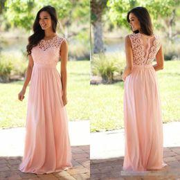 Wholesale cheap elegant bridesmaid dresses - 2018 Cheap Lace Applique Bridesmaid Dresses Jewel Sleeveless Wedding Guest Dress Sheer Back Zipper Sweep Train Chiffon Elegant Formal Gowns