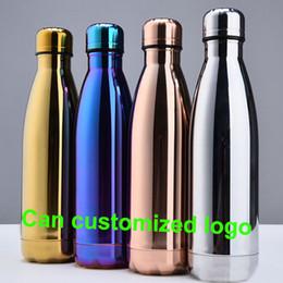 Botella deportiva al vacío online-Taza de agua Taza aislante 500 ml Botella de vacío Deportes 304 Cola de bolos de acero inoxidable Forma Tazas de viaje Logotipo personalizado WX-C19