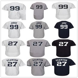 Wholesale Red Gold Ladies - Mens Womens Youth 27 Giancarlo Stanton 99 Aaron Judge 24 Gary Sanchez Gray White Navy Blue Home Road Lady Kids New York Baseball Jerseys
