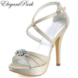 ivory satin wedding sandals Coupons - Woman High Heel Platform Sandal Ivory Rhinestone Cross strap Satin Prom Pumps Women's Wedding Bridal Shoes Women Sandals EP2115