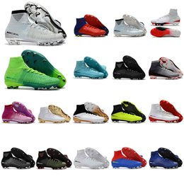 Wholesale medium time - 2018 mercurial superfly V FG original soccer shoes cheap football boots cr7 soccer cleats ankle high cr7 Champions Time to Shine ronaldo new