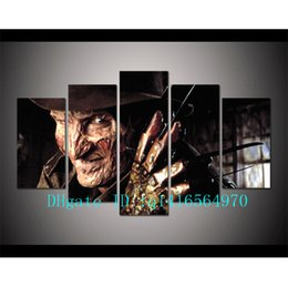 Wholesale Digital Paintings - Horror Freddy Krueger,5 Pieces Canvas Prints Wall Art Oil Painting Home Decor  (Unframed Framed)