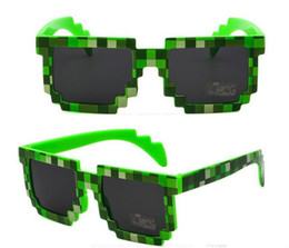 Wholesale Kids Girls Sunglasses - 2018 Deal with it Boys Girls Minecraft Glasses 8 bit Pixel kids Sunglasses Female Male Mosaic Sun Glasses kids Glasses for party