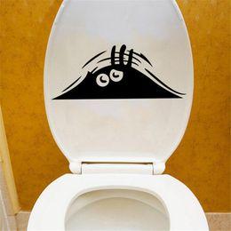 Asientos de vinilo negro online-1 Unid Negro Nueva Etiqueta Engomada Del Asiento de inodoro de PVC / Vinilo Funny monstrosity cartoon Home Decor Negro 34.5 * 14 cm