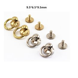 Wholesale Rivet Brass - brass rivets buckle button bags Leather strap belts buckles screw rivet 10mm button O ring bags ornaments Parts & Accessories