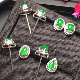18k jade earrings studs Desconto Belas Jóias Coleção Real 18 K Ouro Branco AU750 100% Natural Verde Jade Pedras Preciosas Myanmer Origem Do Parafuso Prisioneiro para As Mulheres