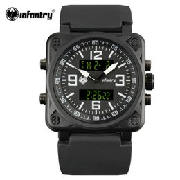 Wholesale Mens Watches Square Digital - INFANTRY Aviator Watch Square Face Mens Quartz Digital Wristwatches Navy Sports Watches Black Rubber Watchband Relogio Masculino