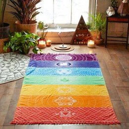 Wholesale bath materials - Microfiber Fabric Material Bohemia India Mandala Blanket 7 Chakra Rainbow Stripes Tapestry Beach Towel Yoga Mat Bath Towel