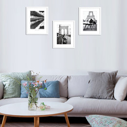 Wholesale Arts Architecture - 3 paintings black and white architecture Nordic home decoration fashion wall stickers living room art frameless paintings