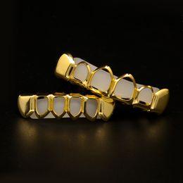 oro superiore corpo cavo Sconti Denti Hip Hop da uomo Grillz Set 6 TopsBottom Hollow Smooth Gold Silver Griglie dentali Per le donne Rock Fashion Accessori gioielli corpo
