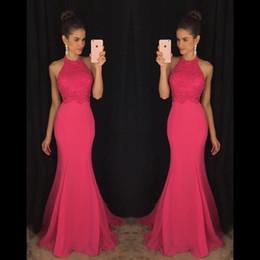 Modest Fúcsia Lace Prom Vestidos 2019 Halter Sem Encosto Sereia Até O Chão Sexy Vestidos de Festa À Noite Vestidos De Fiesta Barato Personalizado de