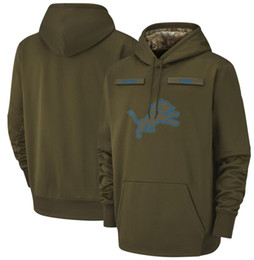 Sudadera con capucha león online-2018 hombres Detroit sudadera Lions Salute to Service Sideline Therma Performance Pullover Hoodie Olive