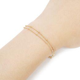 Zierliches silbernes armband online-2018 Gold Kette Armband Für Frauen Mädchen Kupfer Silber Armbänder Armreifen Einstellbare Dainty Doppelschicht Geschenk